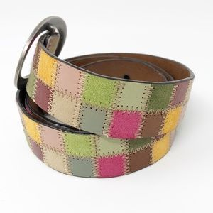 Fossil Patchwork Multicolor Leather Belt Large